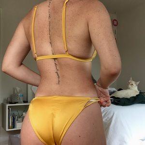 Yellow Gold Strappy Bikini SET